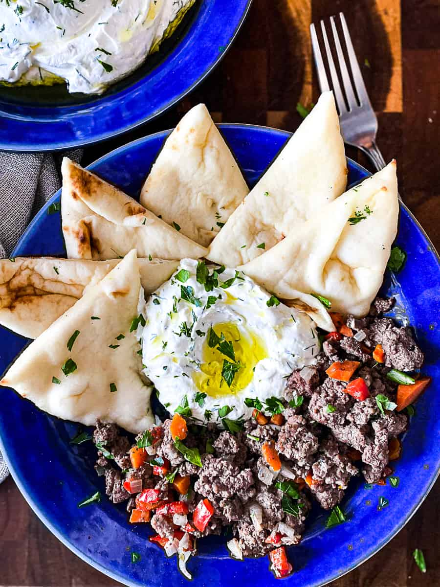 Pita Bread Platter With Mediterranean Ground Beef And Labneh