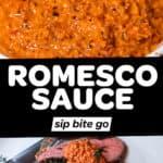 Romesco sauce recipe photos with text overlay.