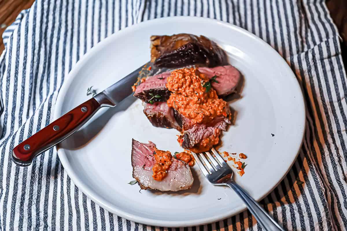 Romesco Sauce on steak