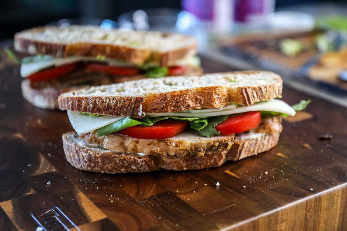 Sourdough Turkey Sandwich With Turkey Leftovers and Avocado.
