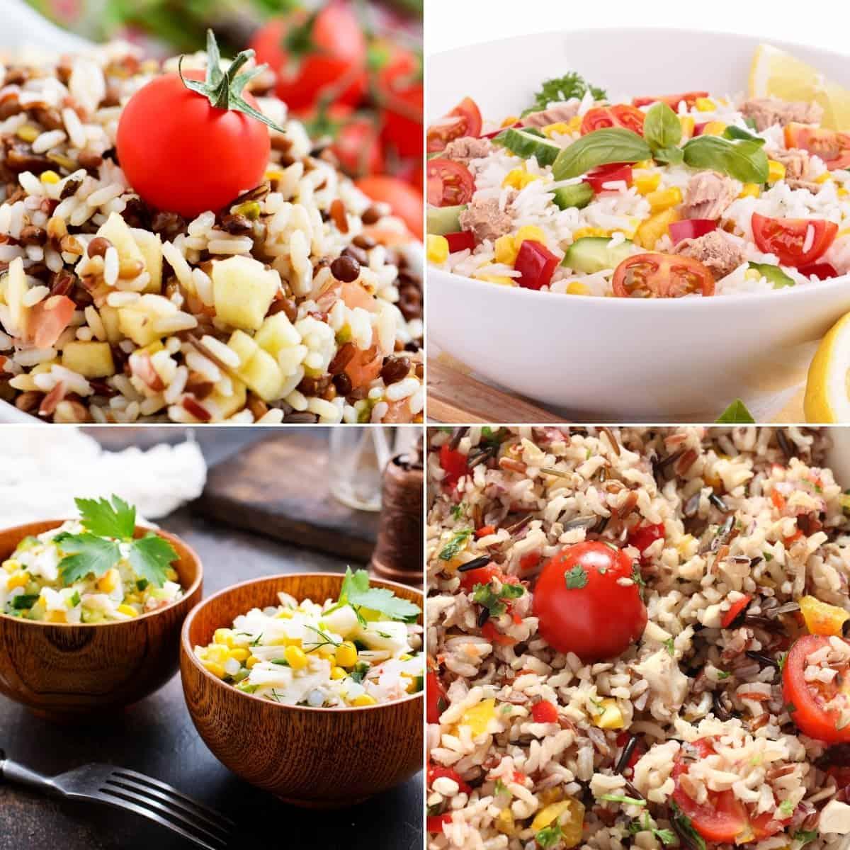 Summer rice salad recipes collage