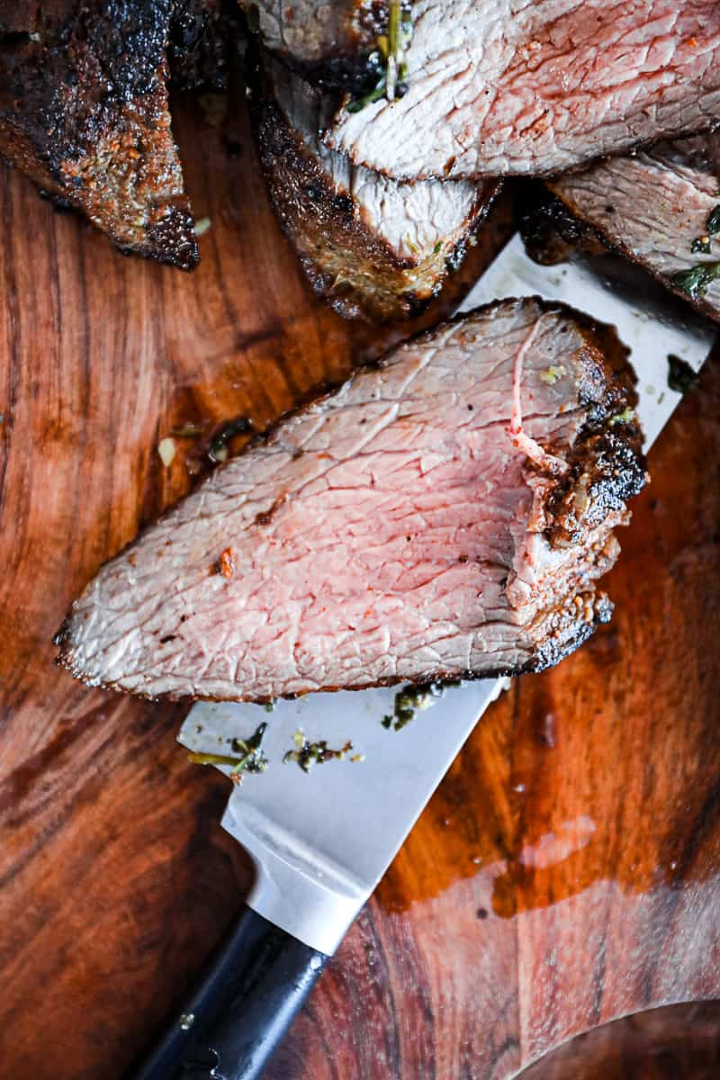 Thinly sliced cooked tri tip