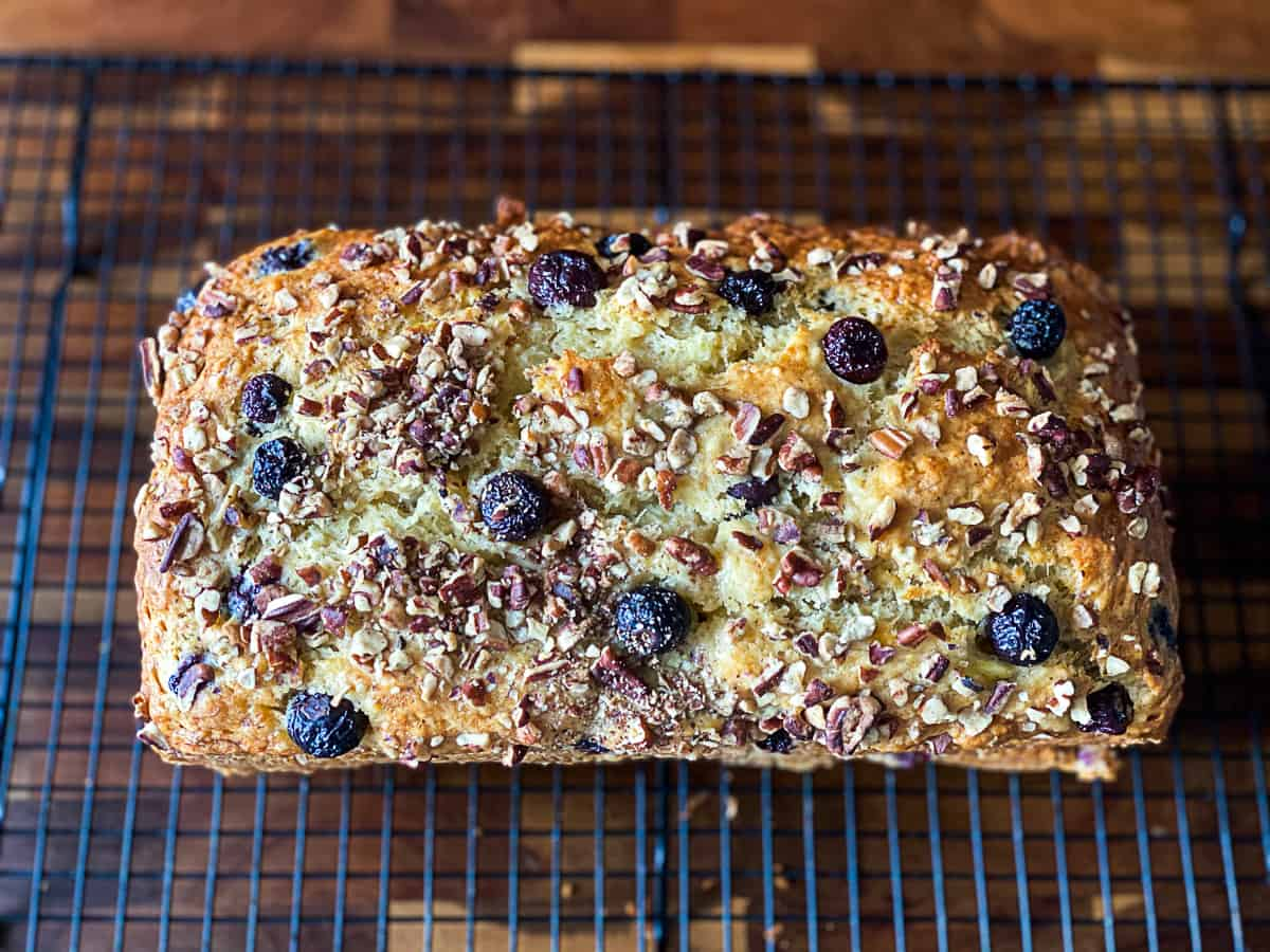 Toasted nuts on blueberry banana bread