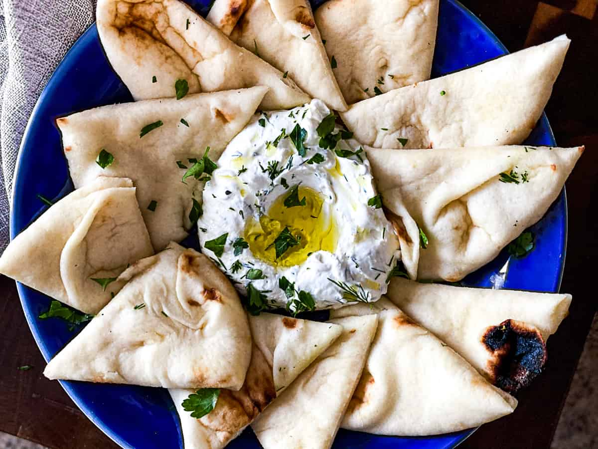 Toasted pita bread and labneh dish