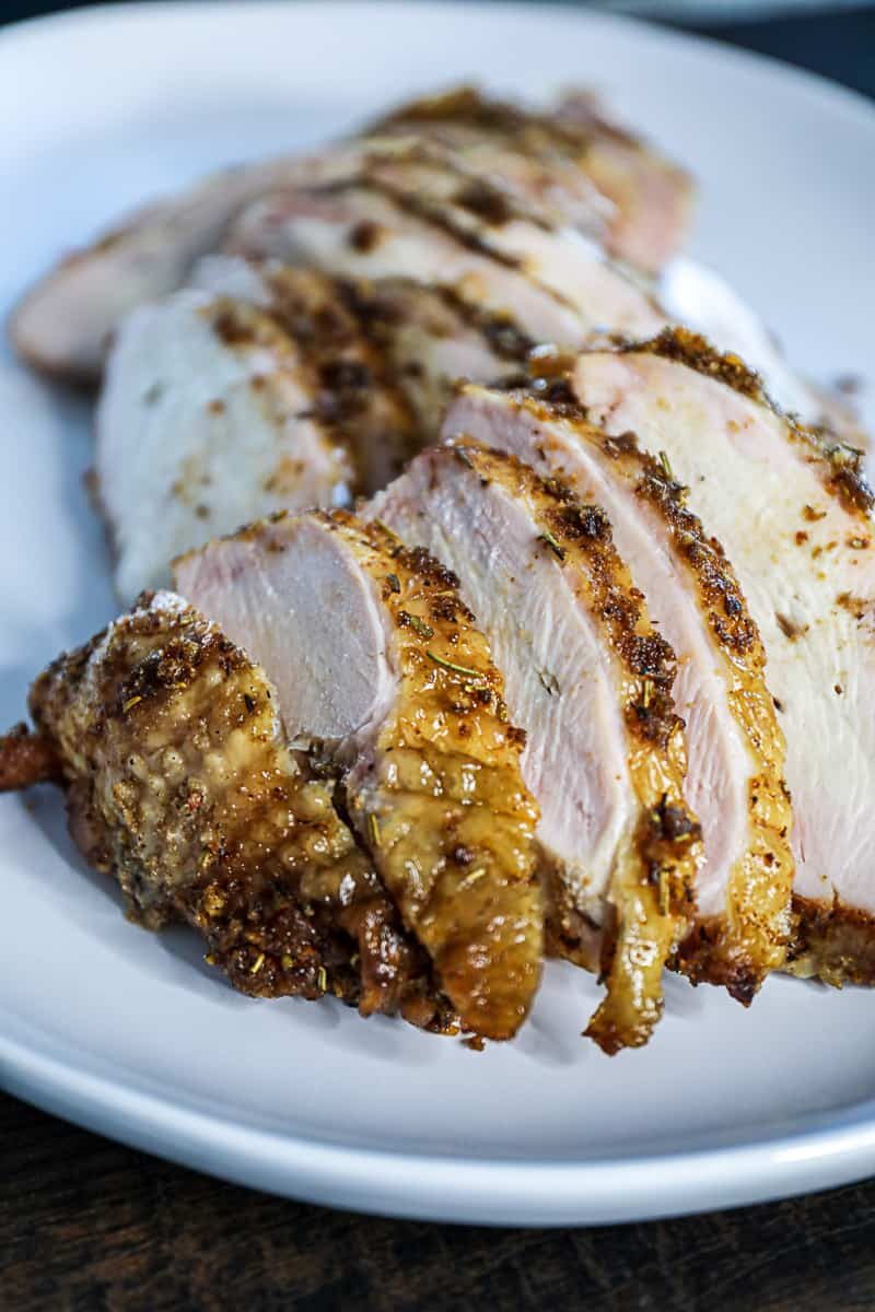 Traeger Pellet Grill Smoked Turkey Breast Thanksgiving Platter.