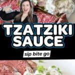 Tzatziki sauce recipe photos with text overlay.