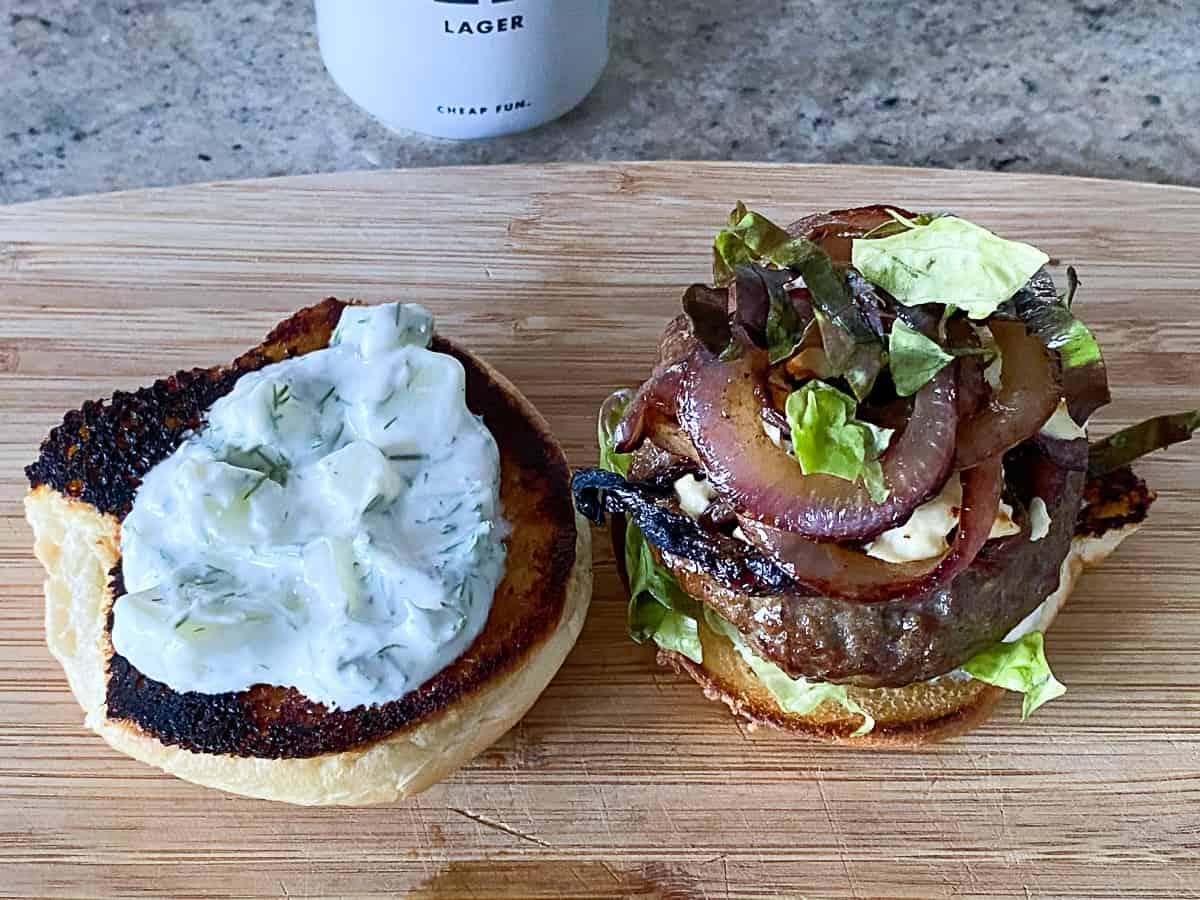 Tzatziki Sauce on burger