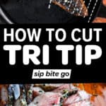 How to cut tri tip diagram with text overlay and recipe image