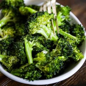 Closeup of Broccoli Air Fried