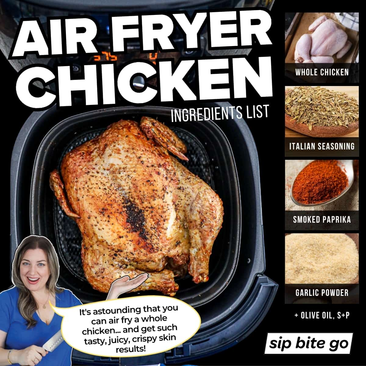 Air Fryer Whole Chicken Ingredients List infographic with photos and text overlay.