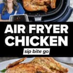 Air Fried Whole Chicken Rotisserie Style images with text overlay.