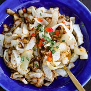 Air fryer onions bowl.