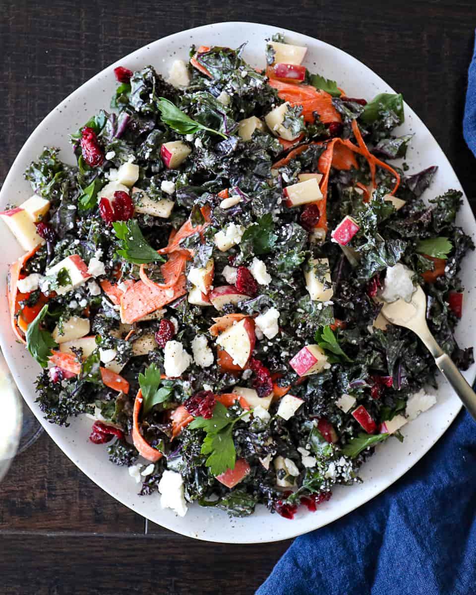 Appetizer Kale Salad With Apples, Feta, Dried Cranberries