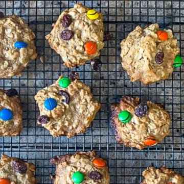 Chewy Oatmeal M&M Cookies With Raisins