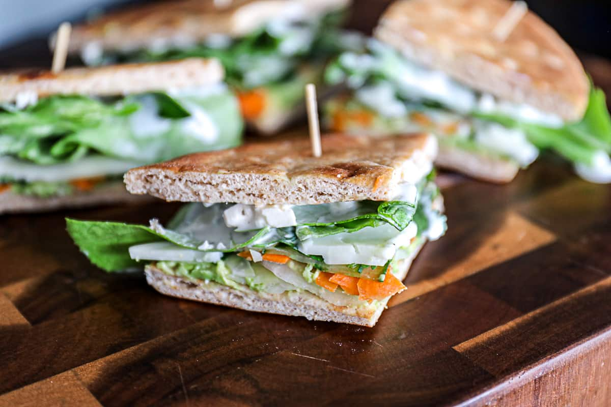 Cucumber Avocado Pita Sandwich with creamy dressing and veggies