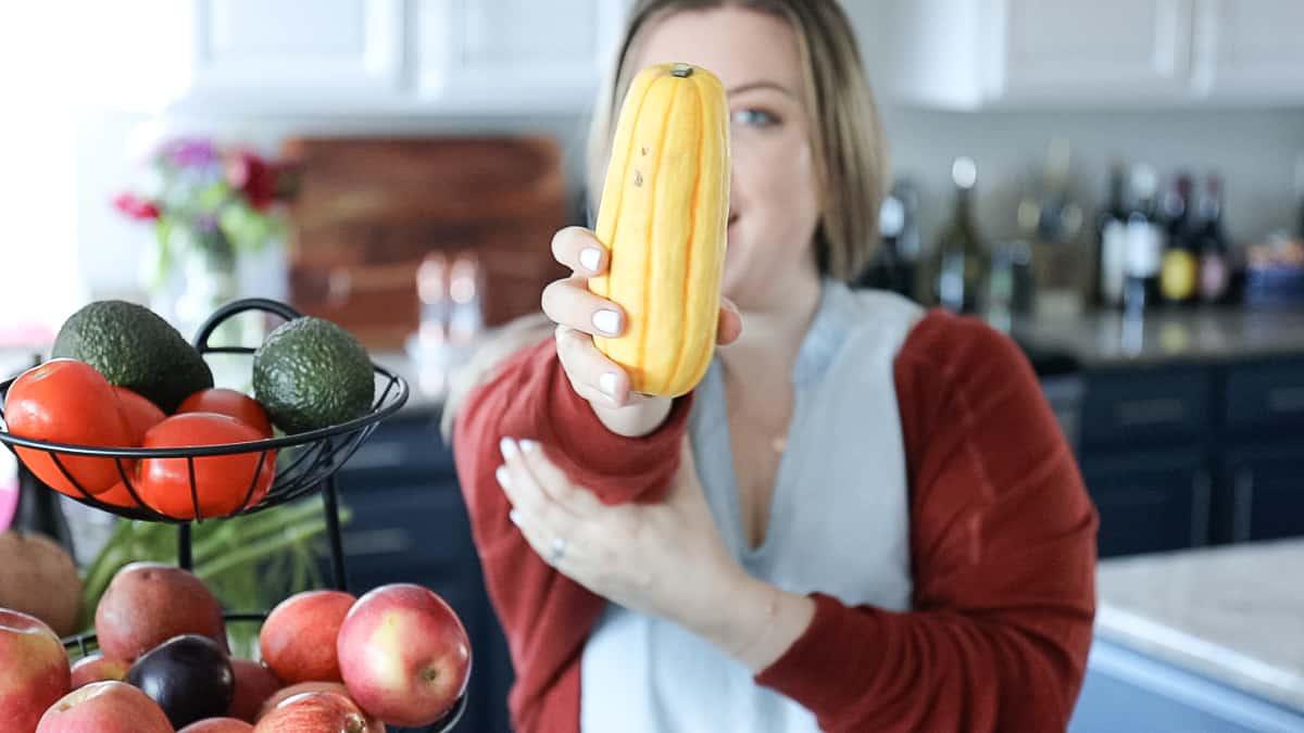 holding Delicata Squash Fall Vegetable