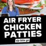 Frozen Chicken Patties in Air Fryer recipe photos with text overlay