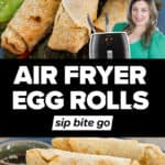 Frozen egg rolls in the air fryer recipe photos with text overlay
