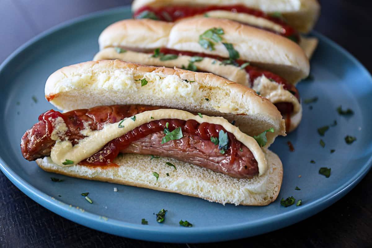 Grilled Brats in hotdog buns