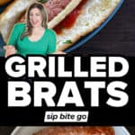 Grilling brats recipe photos with text overlay.