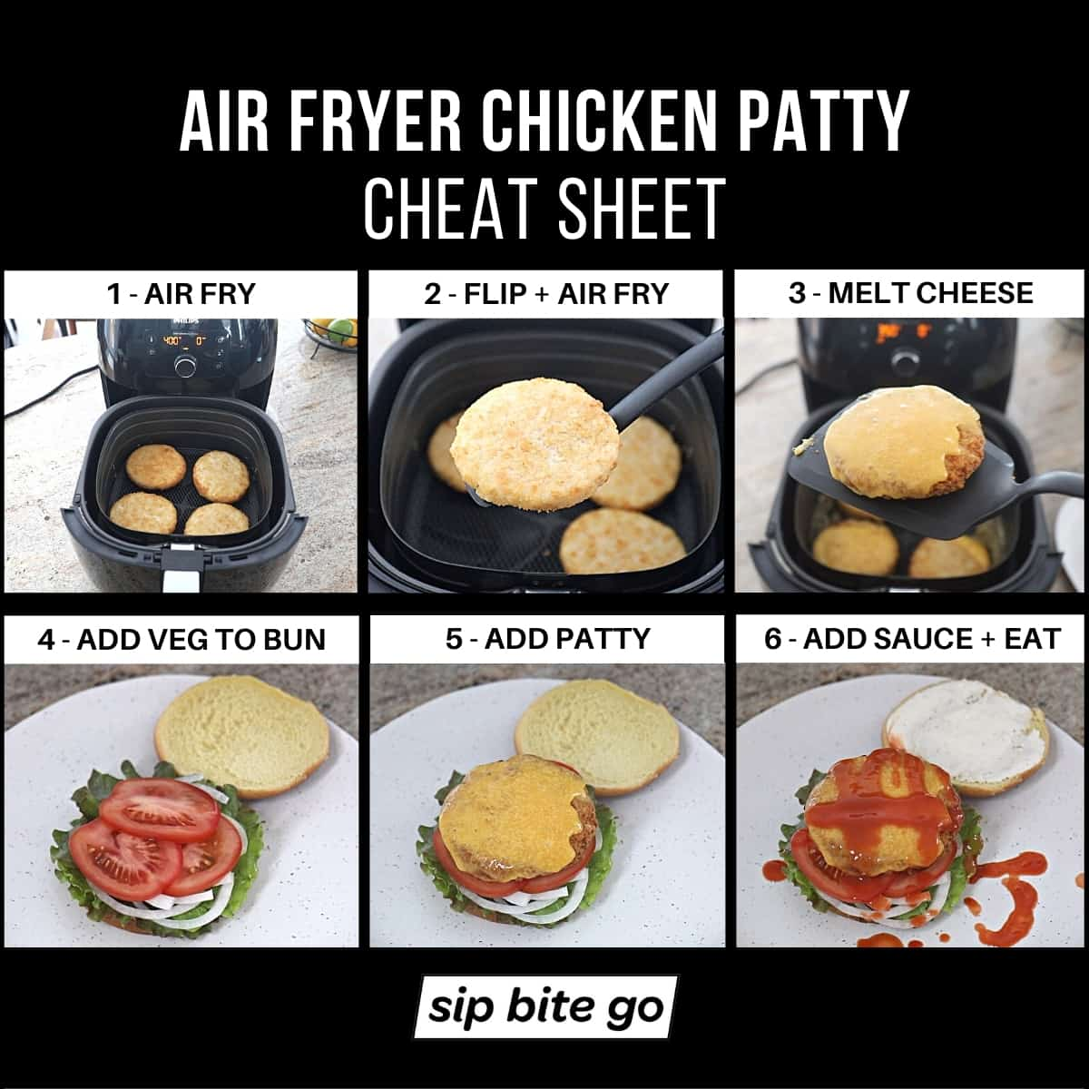 Infographic demonstrating how to air fry frozen chicken patties
