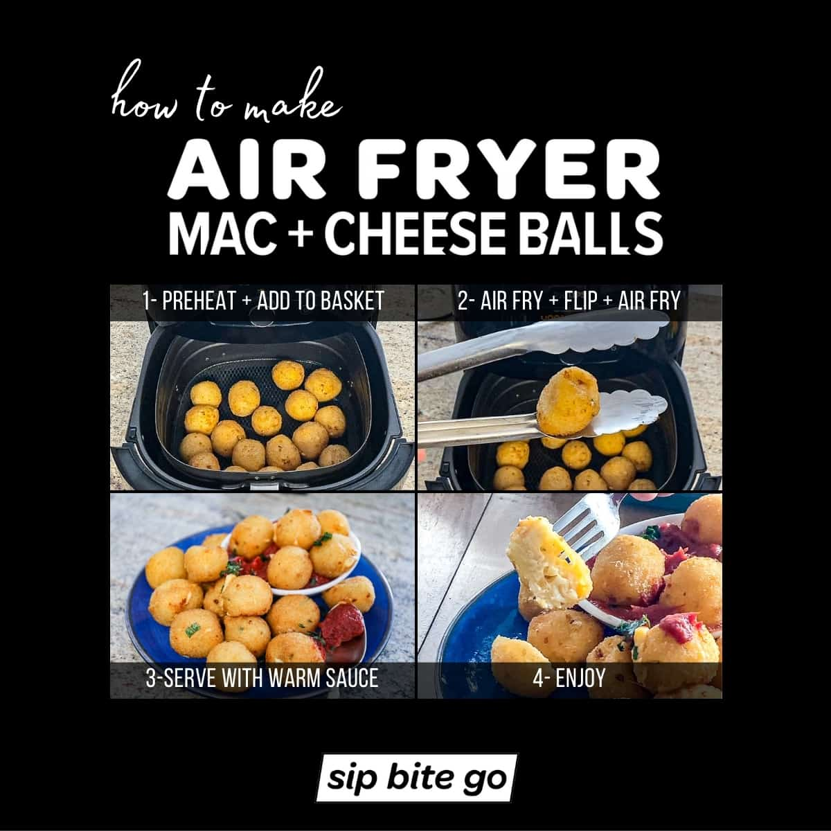 Infographic demonstrating how to air fry mac and cheese balls