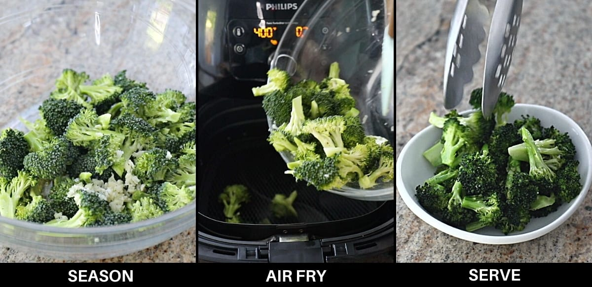 Infographic demonstrating steps on how to air fry broccoli