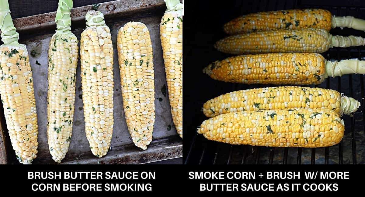 Infographic of how to smoke corn on the cob recipe steps