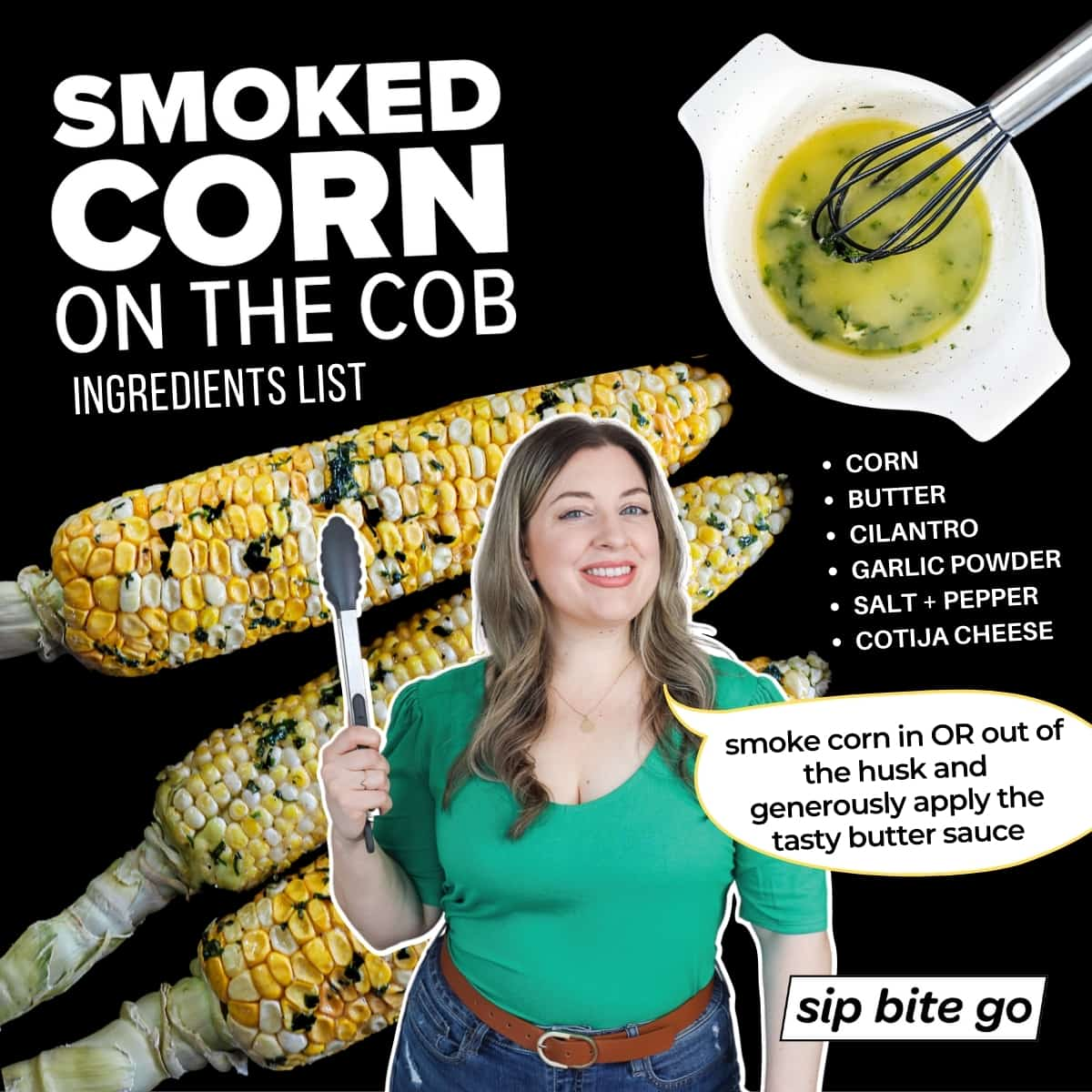 Infographic of smoked corn on the cob ingredients list
