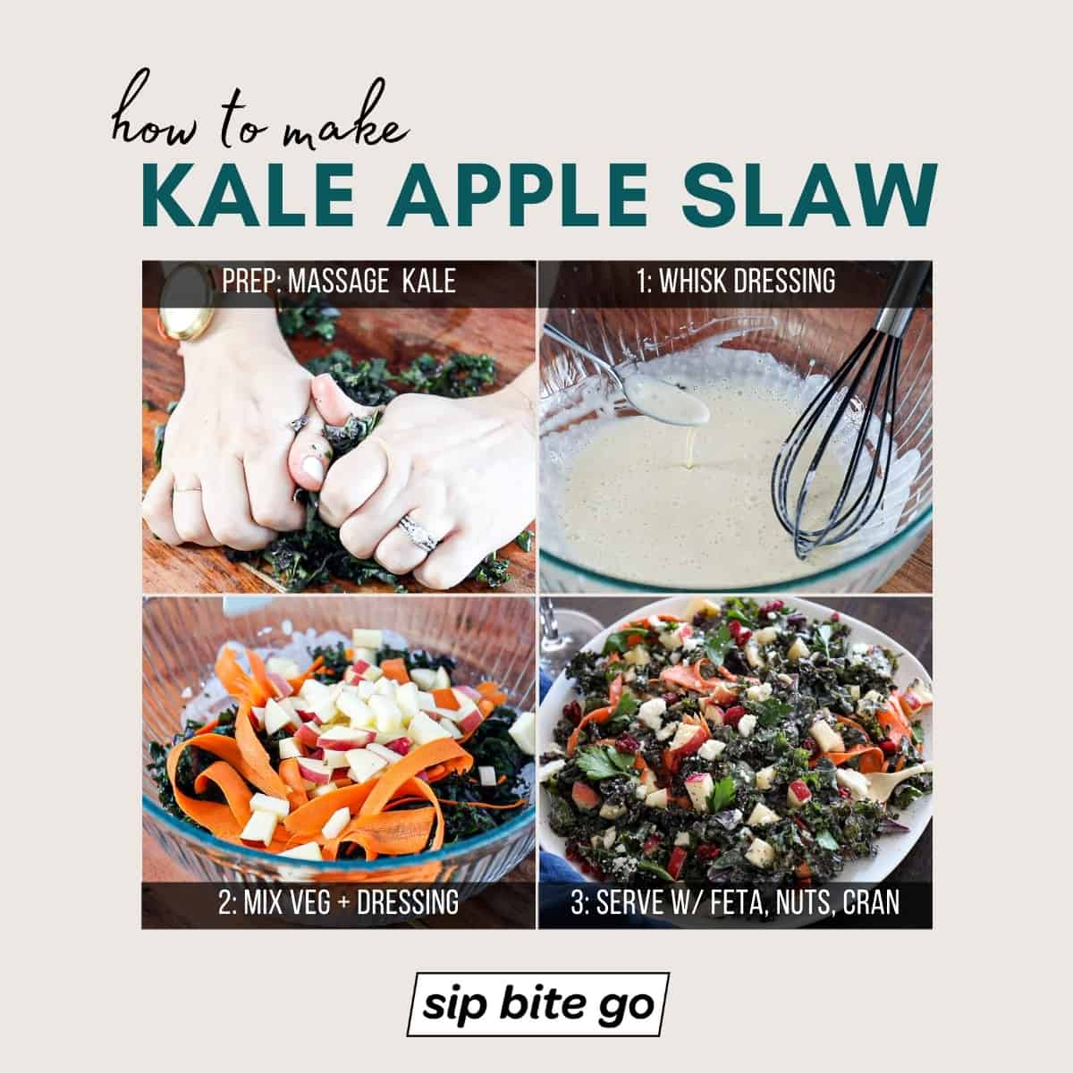 Infographic on how to make kale apple slaw salad with dressing