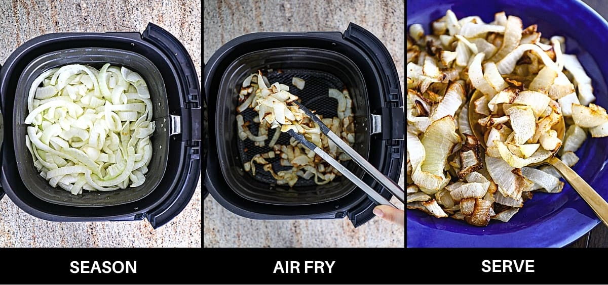 Infographic steps to air frying onions