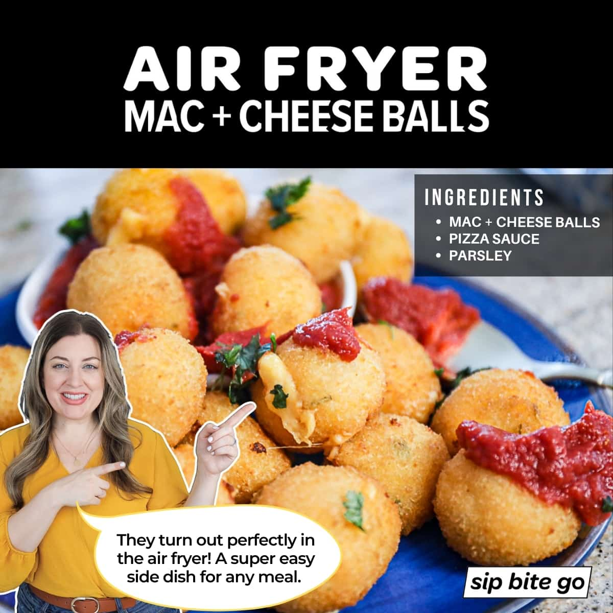 Infographic with Air Fryer Mac And Cheese Balls Ingredients List