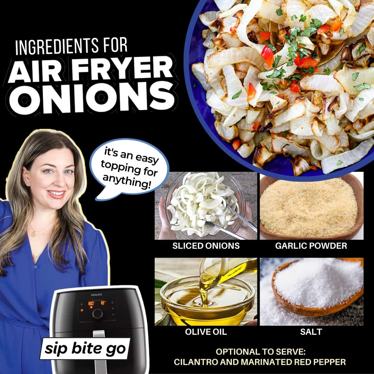 Infographic with ingredients for air fryer onions