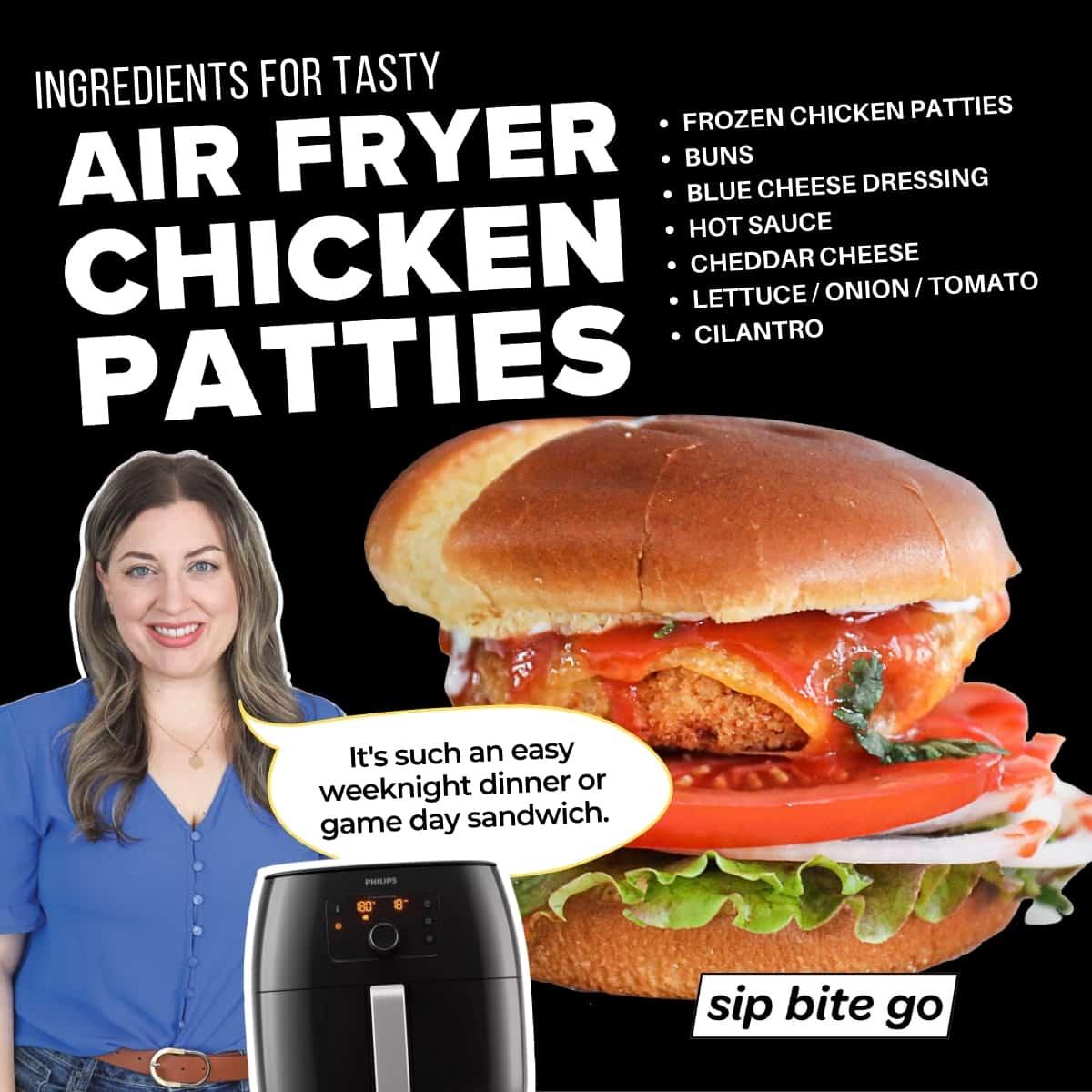 Infographic with ingredients for frozen air fryer chicken patties recipe