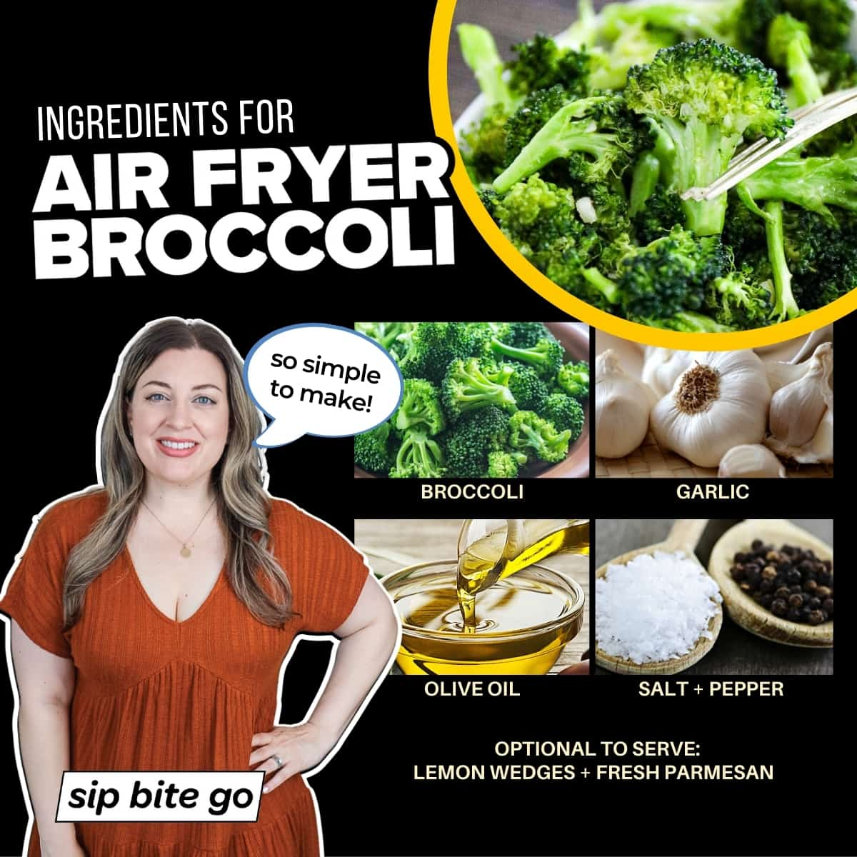 Infographic with ingredients to make broccoli air fryer recipe