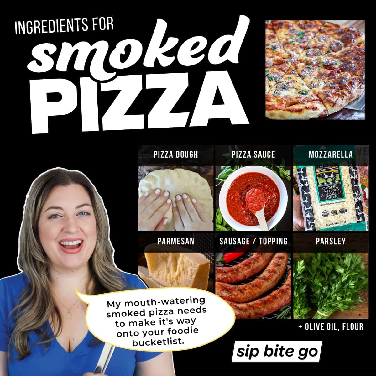 Infographic with smoked pizza ingredients with meat and captions