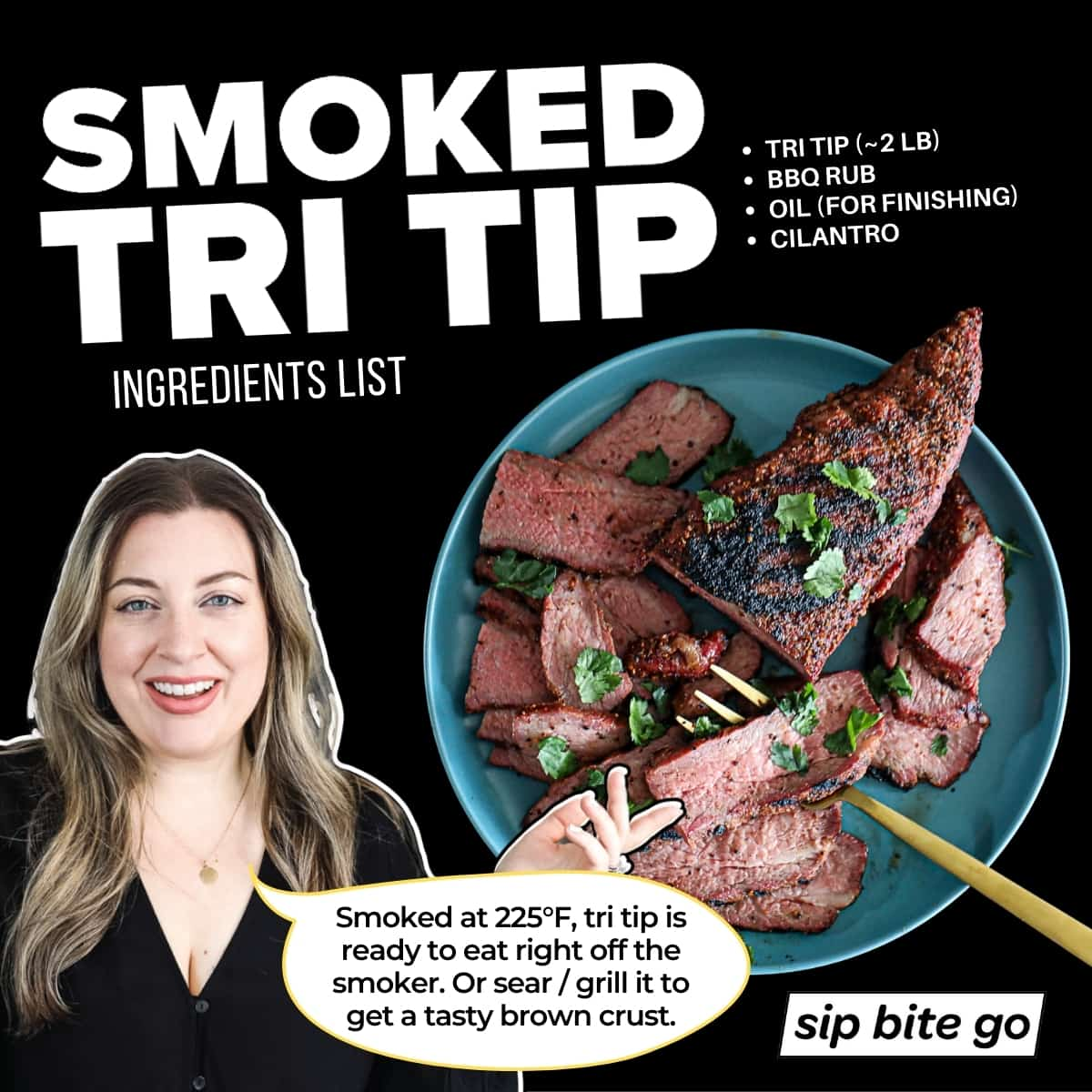 Infographic with smoked tri tip ingredients including bbq rub seasoning