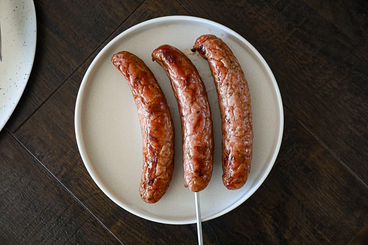 Internal temperature measuring grilled brats recipe