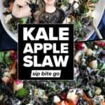 Kale Apple Slaw Recipe photos with text overlay.