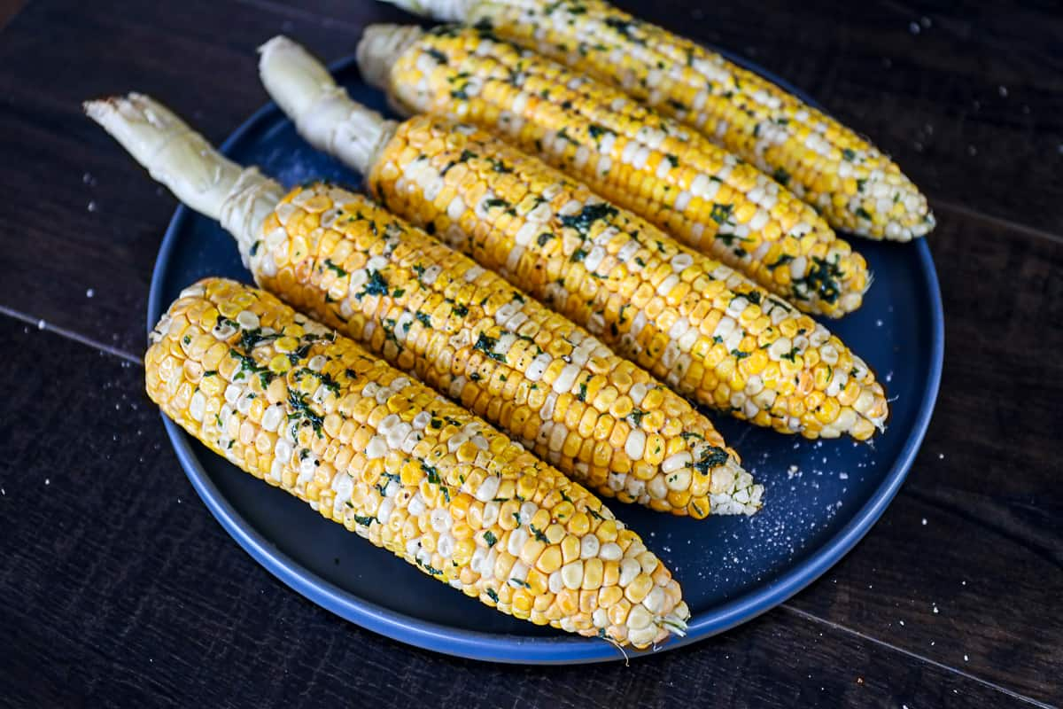 Platter with smoked corn