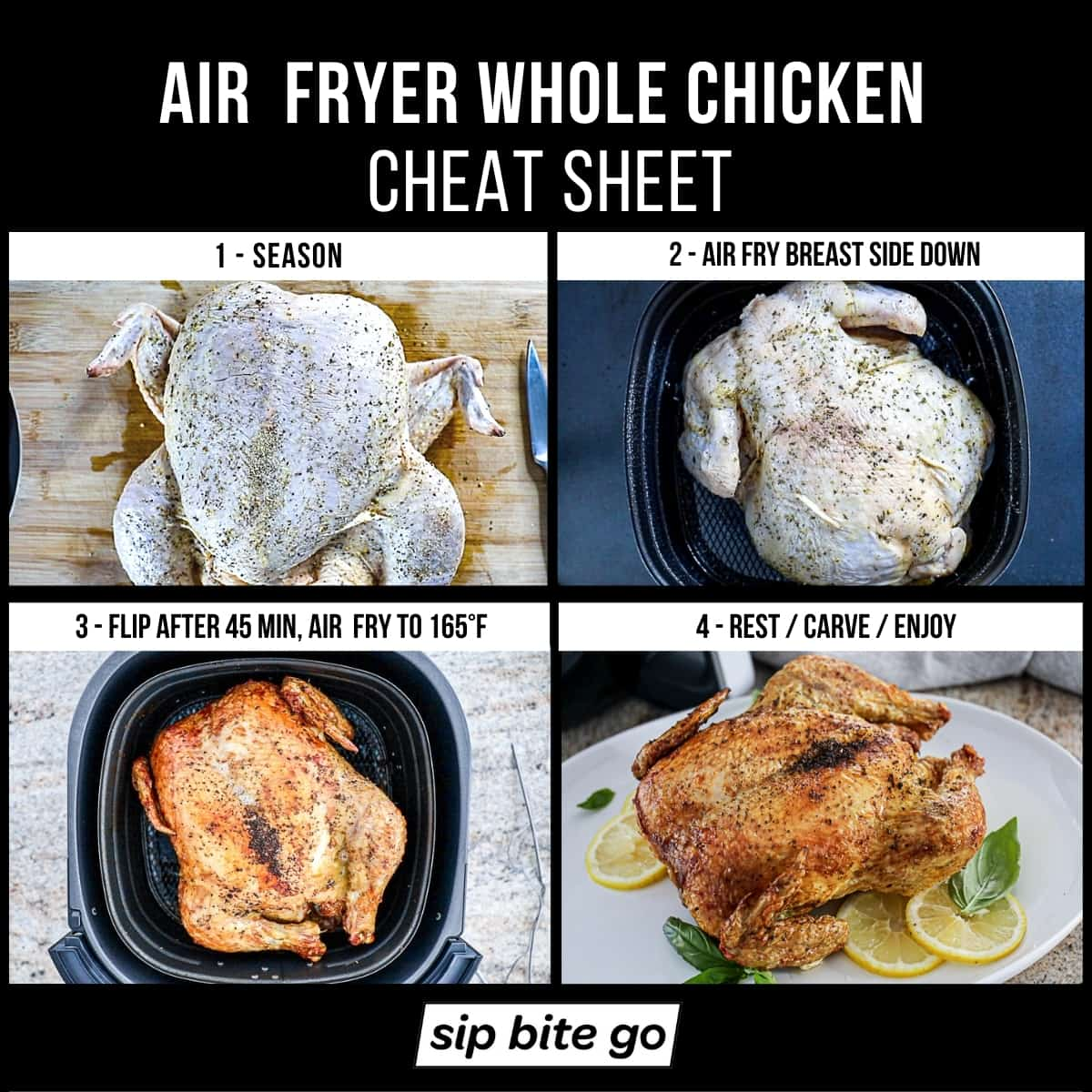 Recipe instructions demonstrating how to AIR FRY A WHOLE CHICKEN