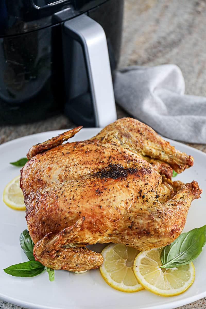 Roasted Air Fryer Whole Chicken With Lemon
