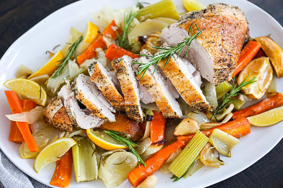 Roasted turkey breast thanksgiving dish