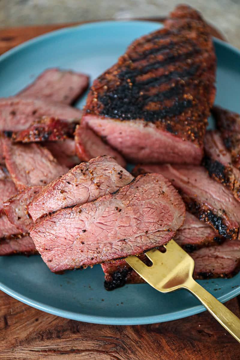Sliced Brisket Style Smoked Tri Tip Traeger Recipe