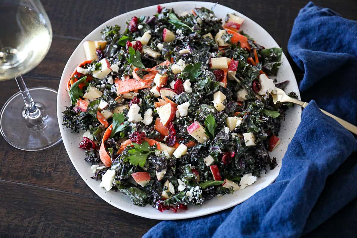White wine with Kale Apple Slaw Salad for dinner