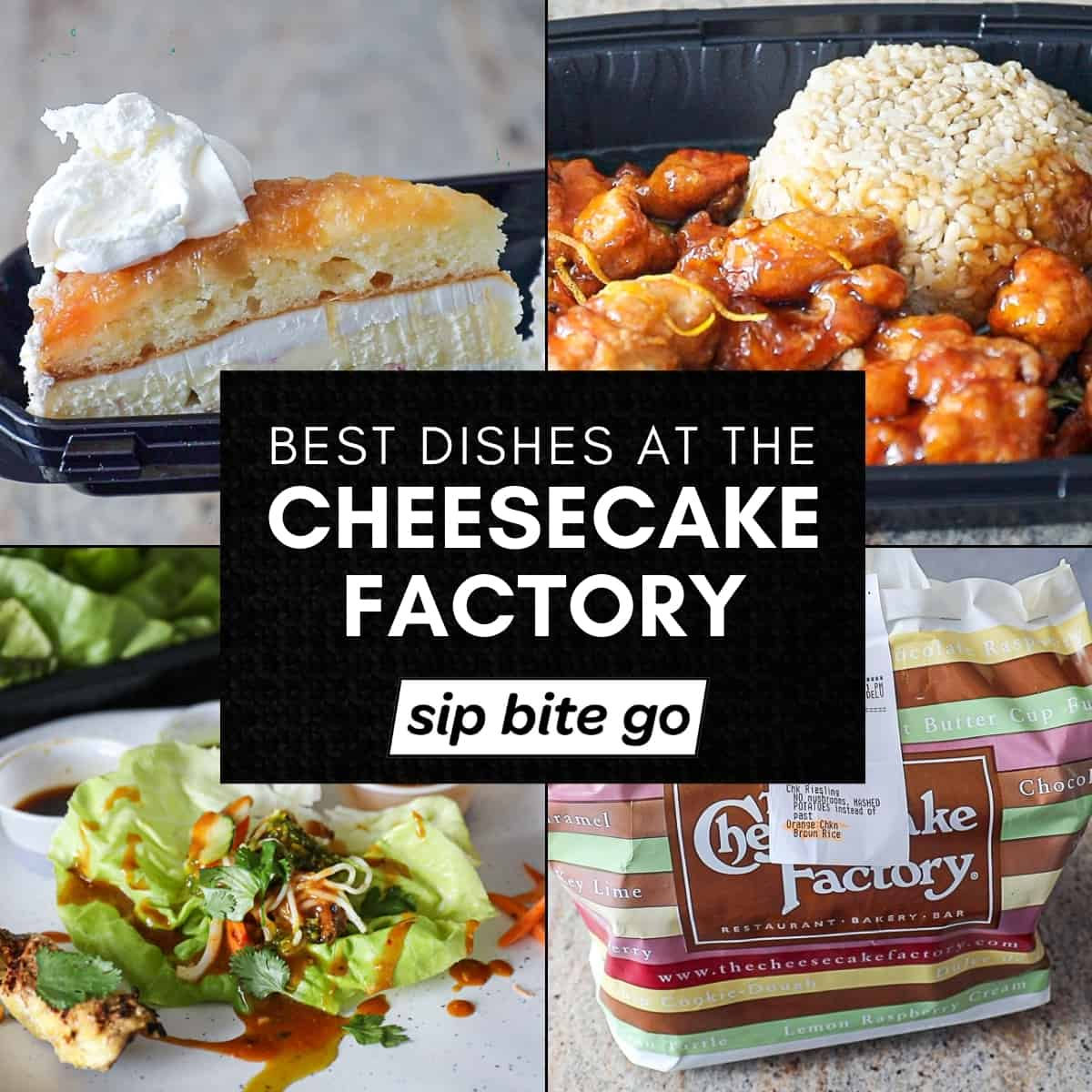 Best Cheesecake Factory Food image collage with text overlay.